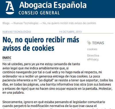 No, no quiero más avisos de cookies