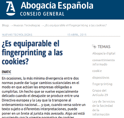 ¿Es equiparable el fingerprinting a las cookies?