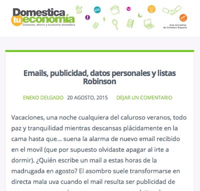 Emails, publicidad, datos personales…