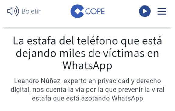 COPE: La estafa del teléfono que está dejando miles de víctimas en WhatsApp
